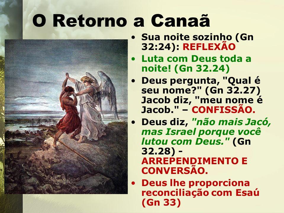 O Retorno a Canaã Sua noite sozinho (Gn 32:24): REFLEXÃO Luta com Deus toda a noite! (Gn 32.24) Deus pergunta,