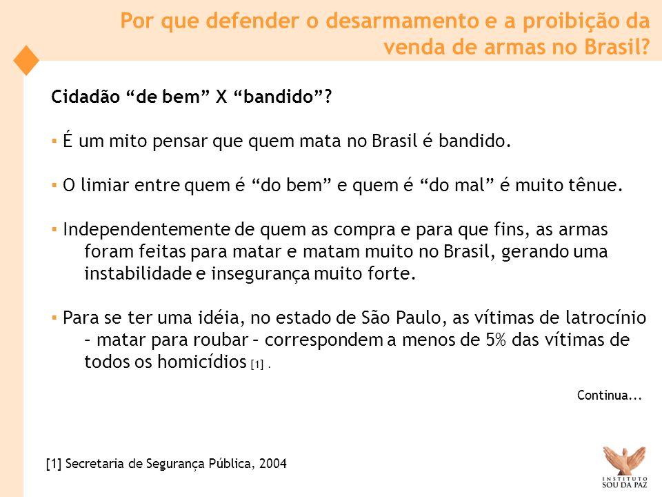 Por que defender o desarmamento e a proibição da venda de armas no Brasil? Cidadão de bem X bandido? É um mito pensar que quem mata no Brasil é bandid