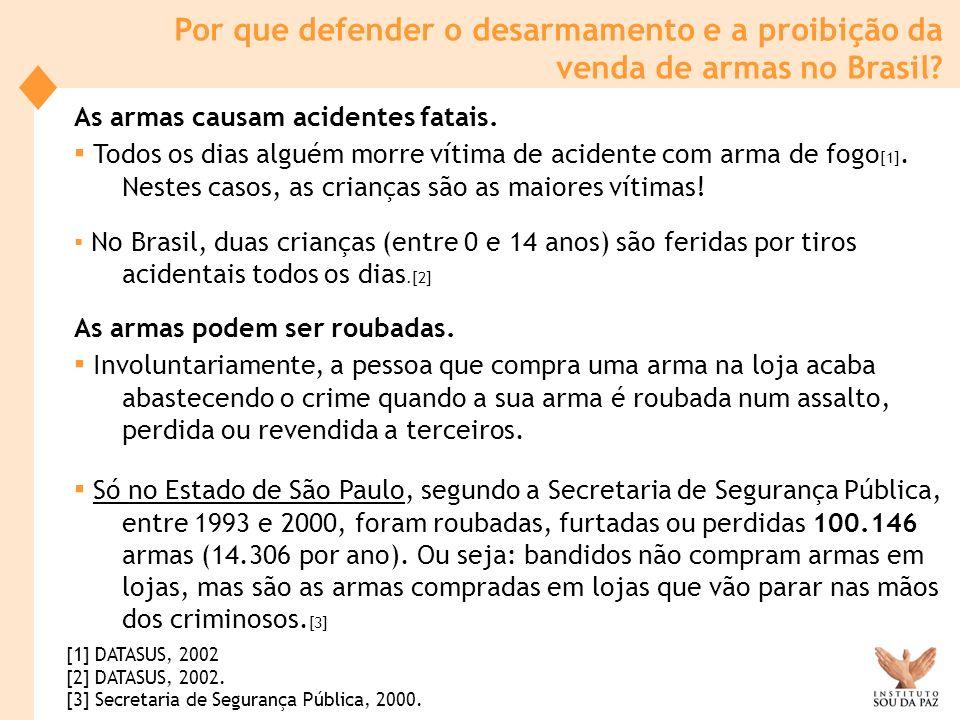 Por que defender o desarmamento e a proibição da venda de armas no Brasil? As armas causam acidentes fatais. Todos os dias alguém morre vítima de acid