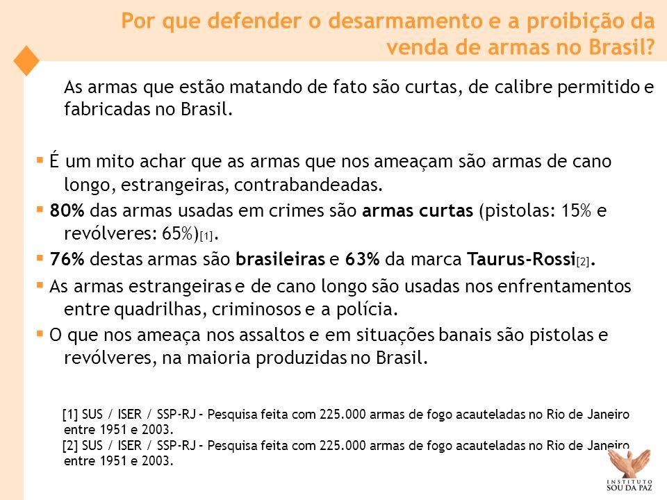 As armas que estão matando de fato são curtas, de calibre permitido e fabricadas no Brasil. É um mito achar que as armas que nos ameaçam são armas de