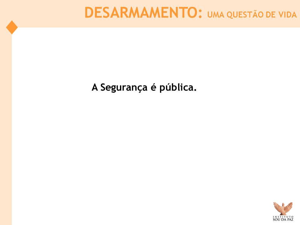 DESARMAMENTO: UMA QUESTÃO DE VIDA A Segurança é pública.