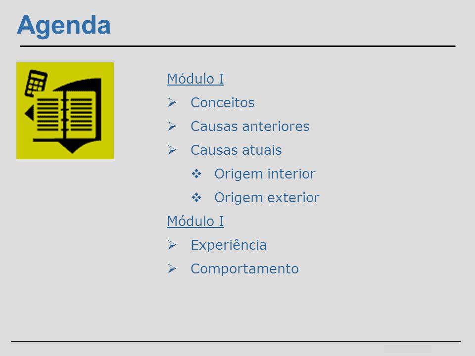 Agenda Módulo I Conceitos Causas anteriores Causas atuais Origem interior Origem exterior Módulo I Experiência Comportamento