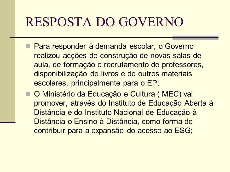 RESPOSTA DO GOVERNO Para responder à demanda escolar, o Governo realizou acções de construção de novas salas de aula, de formação e recrutamento de pr