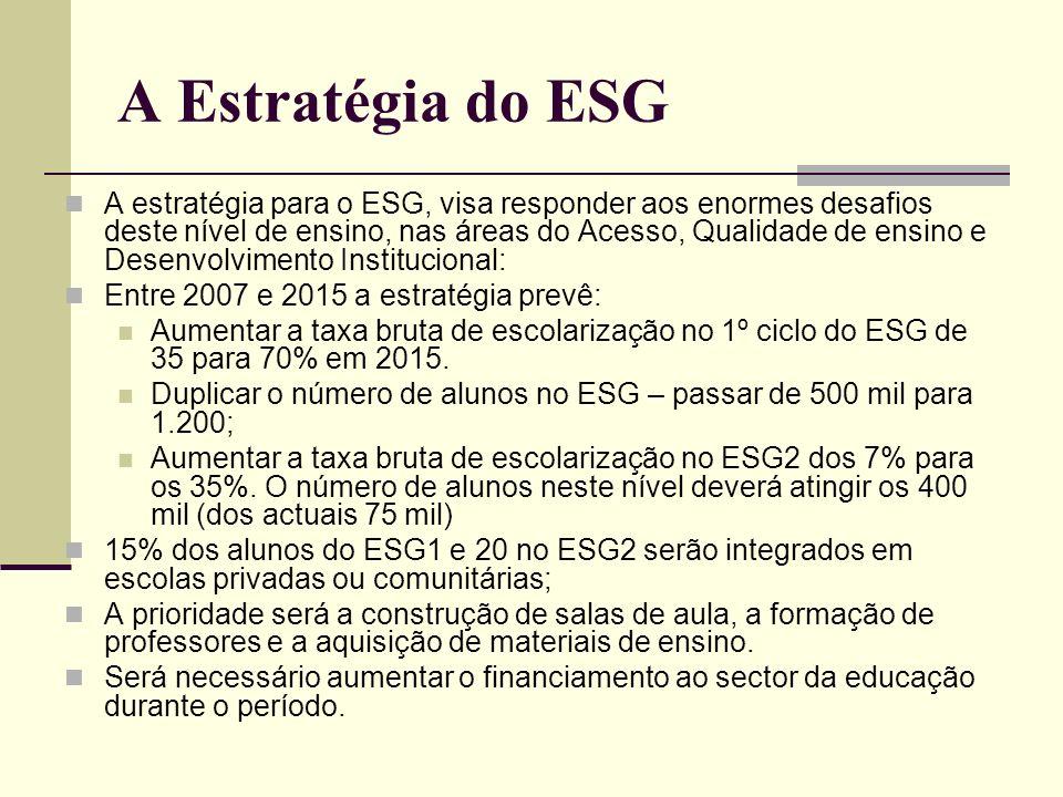 A Estratégia do ESG A estratégia para o ESG, visa responder aos enormes desafios deste nível de ensino, nas áreas do Acesso, Qualidade de ensino e Des