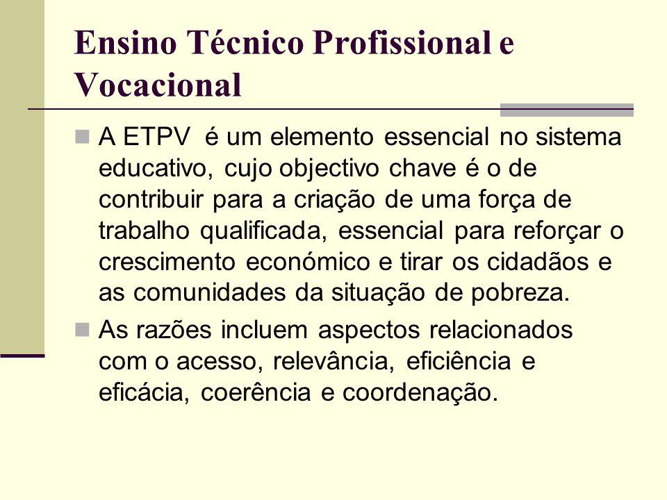 Ensino Técnico Profissional e Vocacional A ETPV é um elemento essencial no sistema educativo, cujo objectivo chave é o de contribuir para a criação de