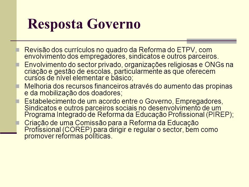 Resposta Governo Revisão dos currículos no quadro da Reforma do ETPV, com envolvimento dos empregadores, sindicatos e outros parceiros. Envolvimento d