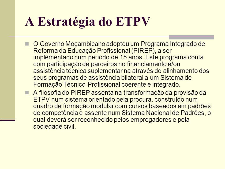 A Estratégia do ETPV O Governo Moçambicano adoptou um Programa Integrado de Reforma da Educação Profissional (PIREP), a ser implementado num período d