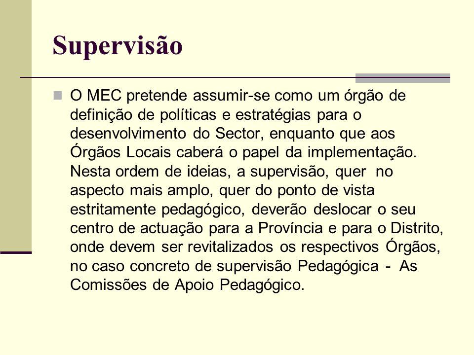 Supervisão O MEC pretende assumir-se como um órgão de definição de políticas e estratégias para o desenvolvimento do Sector, enquanto que aos Órgãos L