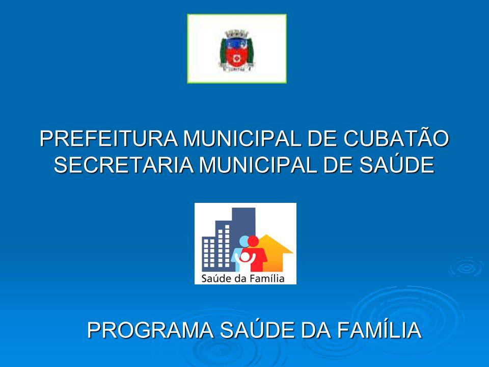 PREFEITURA MUNICIPAL DE CUBATÃO SECRETARIA MUNICIPAL DE SAÚDE PROGRAMA SAÚDE DA FAMÍLIA