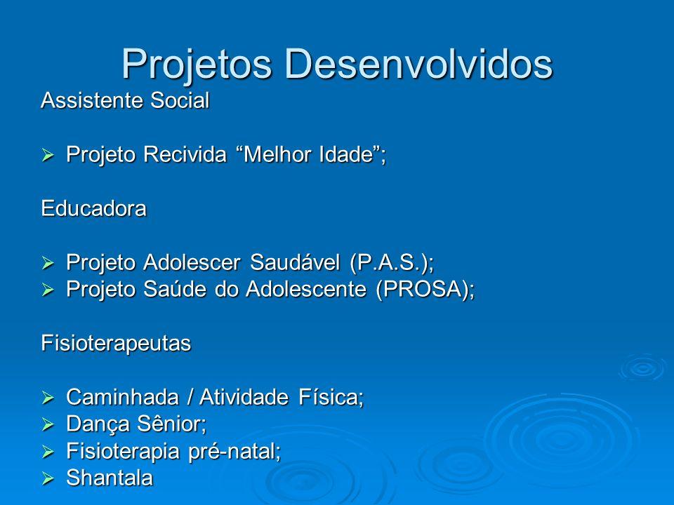 Projetos Desenvolvidos Assistente Social Projeto Recivida Melhor Idade; Projeto Recivida Melhor Idade;Educadora Projeto Adolescer Saudável (P.A.S.); P