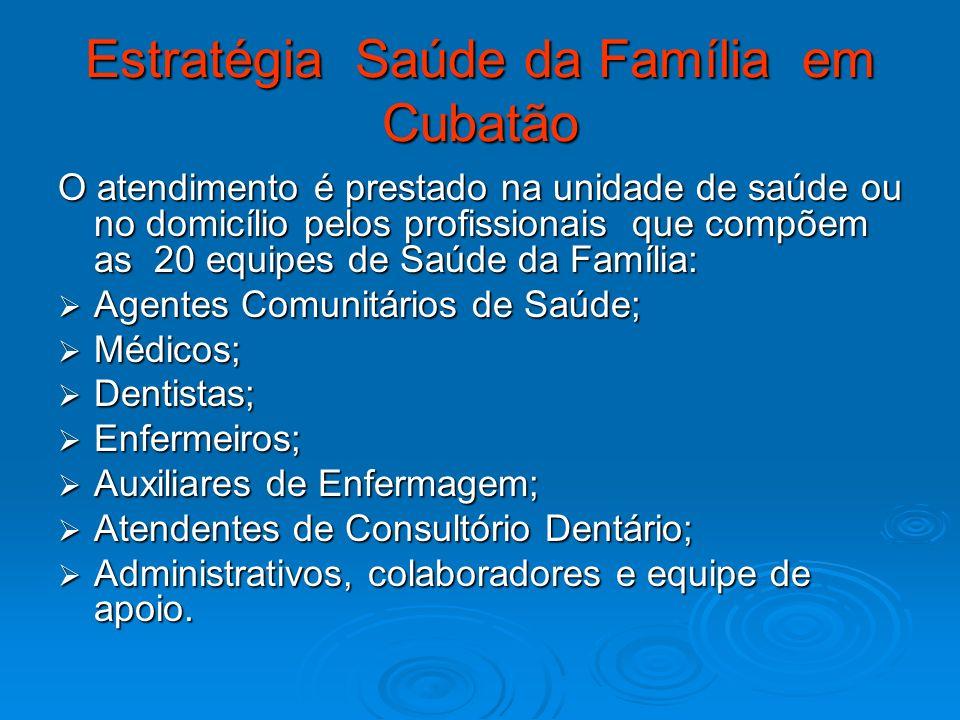 Estratégia Saúde da Família em Cubatão O atendimento é prestado na unidade de saúde ou no domicílio pelos profissionais que compõem as 20 equipes de S