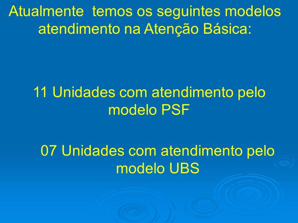 Atualmente temos os seguintes modelos atendimento na Atenção Básica: 11 Unidades com atendimento pelo modelo PSF 07 Unidades com atendimento pelo mode
