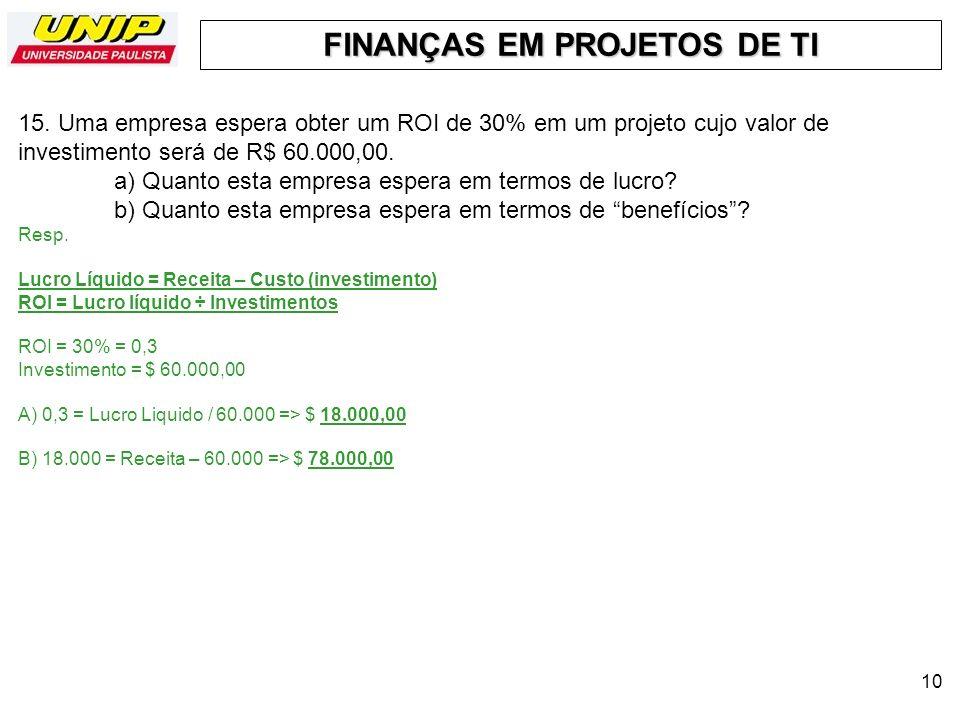FINANÇAS EM PROJETOS DE TI 10 15. Uma empresa espera obter um ROI de 30% em um projeto cujo valor de investimento será de R$ 60.000,00. a) Quanto esta