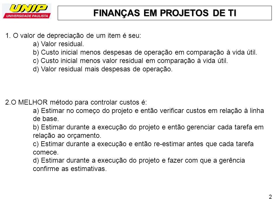 FINANÇAS EM PROJETOS DE TI 3 3.