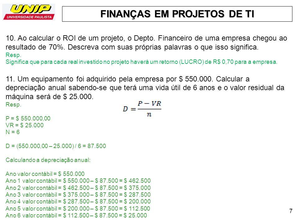 FINANÇAS EM PROJETOS DE TI 7 10. Ao calcular o ROI de um projeto, o Depto. Financeiro de uma empresa chegou ao resultado de 70%. Descreva com suas pró