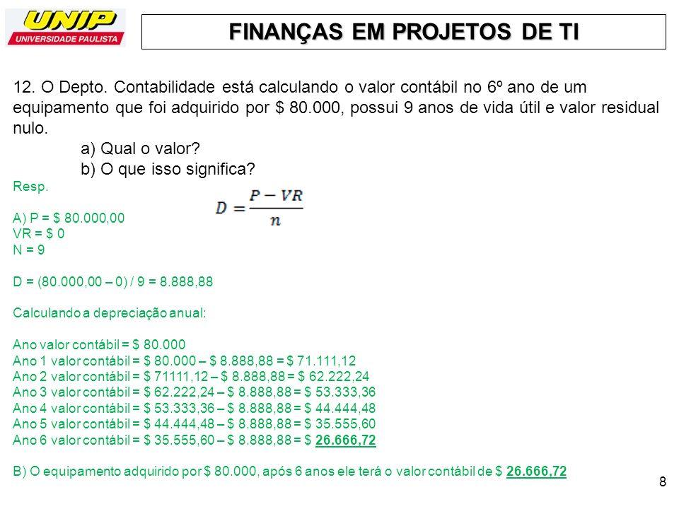 FINANÇAS EM PROJETOS DE TI 9 13.