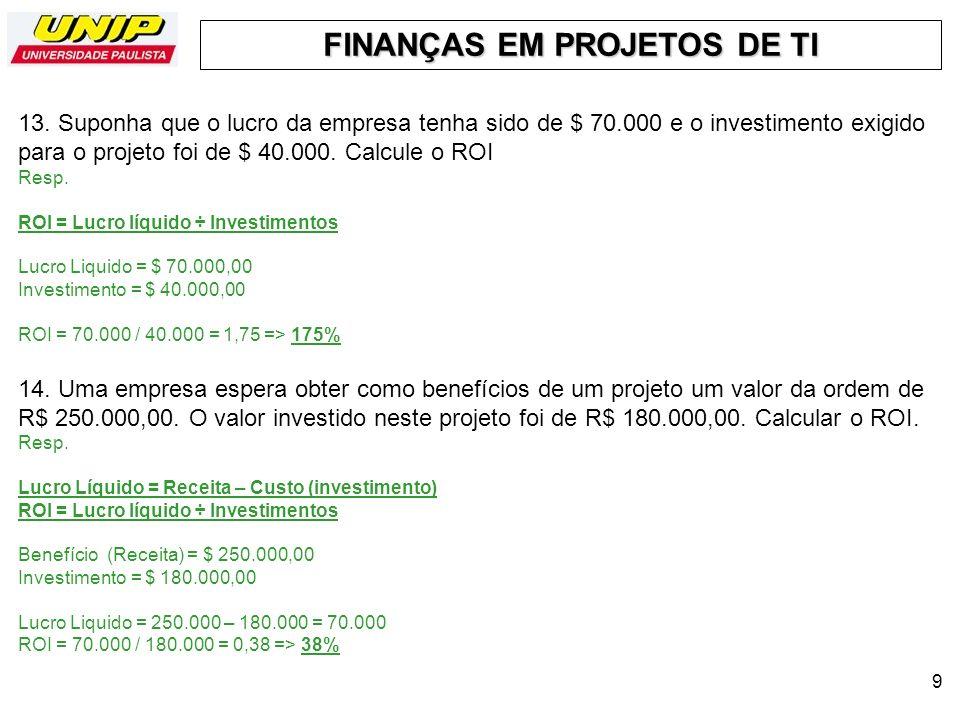 FINANÇAS EM PROJETOS DE TI 10 15.