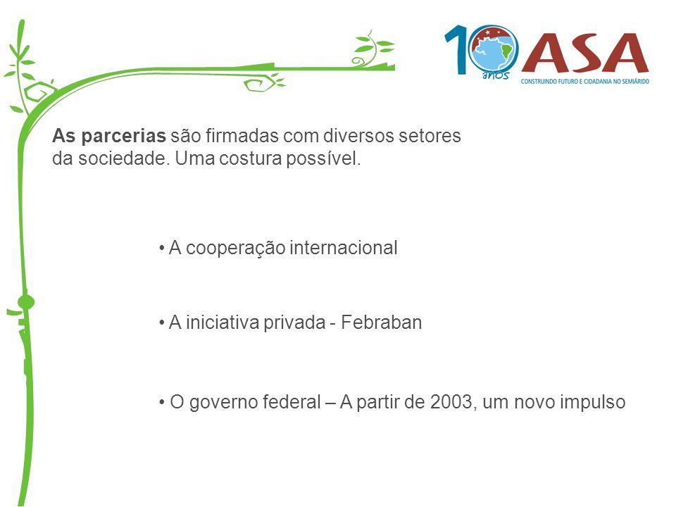 As parcerias são firmadas com diversos setores da sociedade. Uma costura possível. O governo federal – A partir de 2003, um novo impulso A cooperação