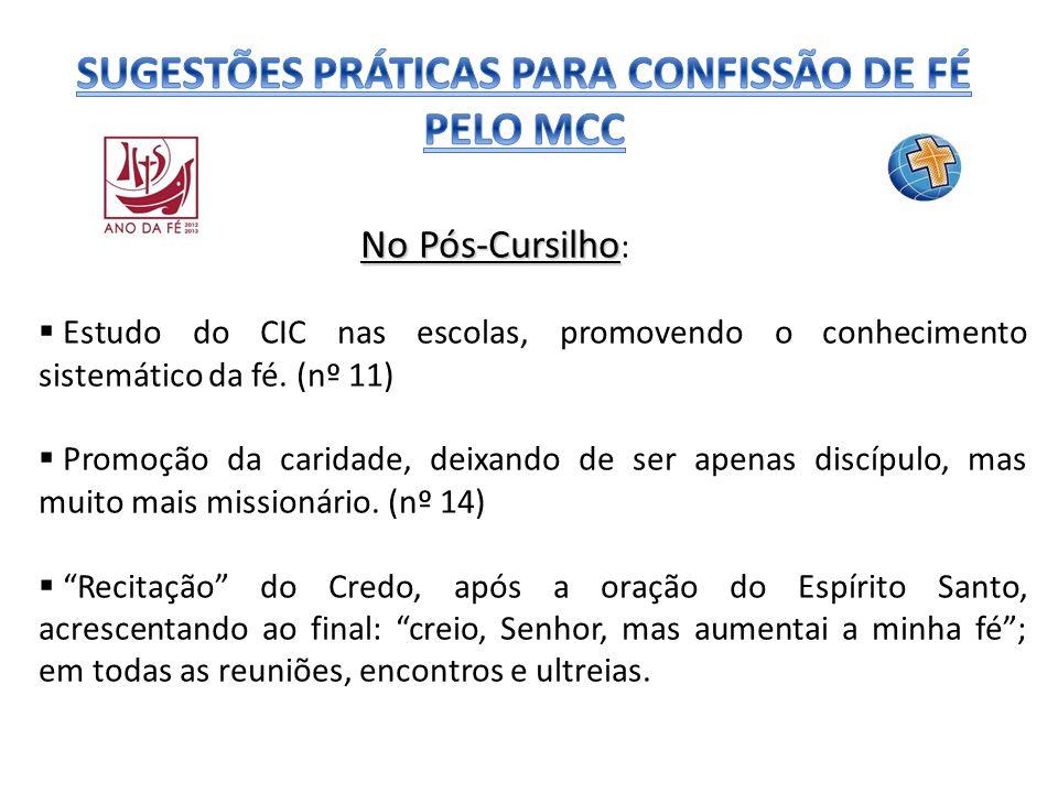 No Pós-Cursilho No Pós-Cursilho : Estudo do CIC nas escolas, promovendo o conhecimento sistemático da fé. (nº 11) Promoção da caridade, deixando de se