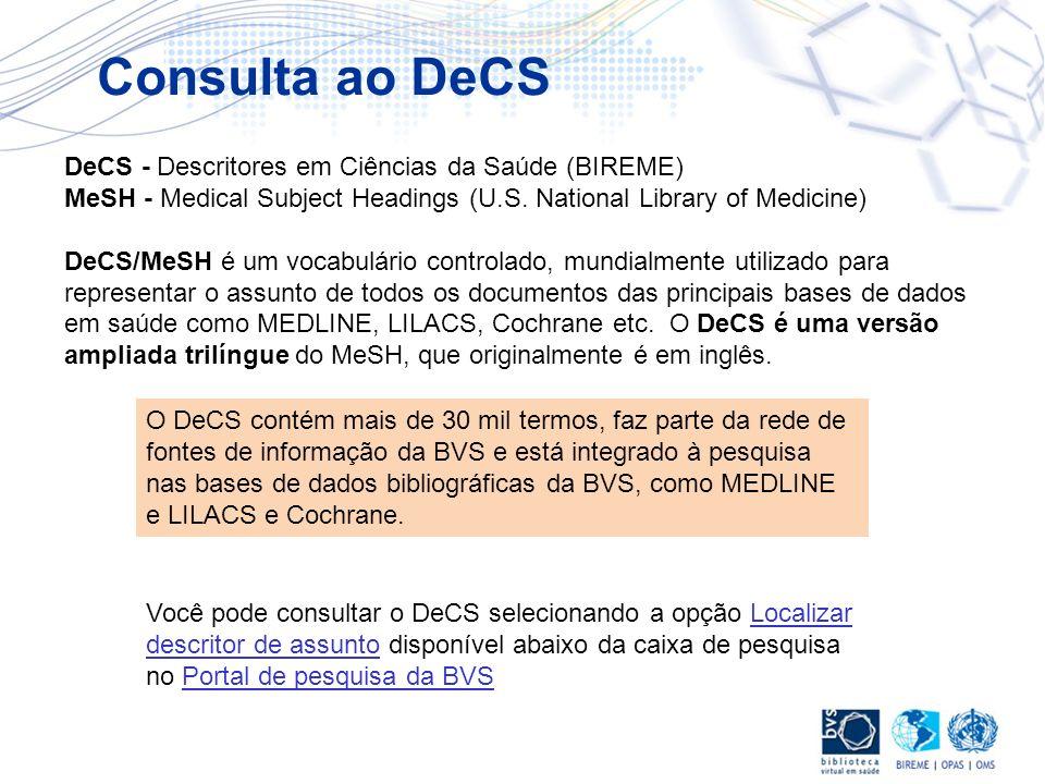 DeCS - Descritores em Ciências da Saúde (BIREME) MeSH - Medical Subject Headings (U.S. National Library of Medicine) DeCS/MeSH é um vocabulário contro