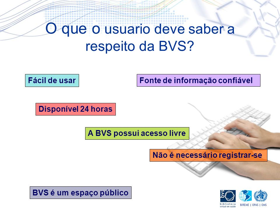 O que o usuario deve saber a respeito da BVS? Fácil de usarFonte de informação confiável BVS é um espaço público A BVS possui acesso livre Não é neces