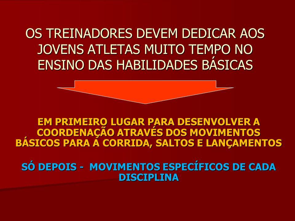 OS TREINADORES DEVEM DEDICAR AOS JOVENS ATLETAS MUITO TEMPO NO ENSINO DAS HABILIDADES BÁSICAS EM PRIMEIRO LUGAR PARA DESENVOLVER A COORDENAÇÃO ATRAVÉS