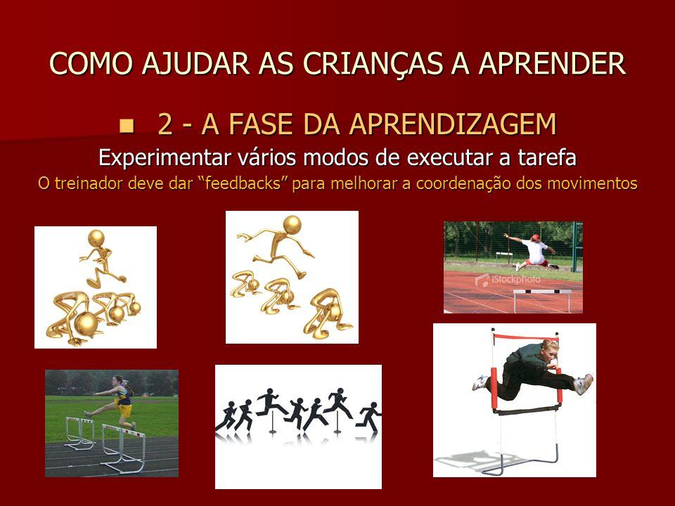 COMO AJUDAR AS CRIANÇAS A APRENDER 2 - A FASE DA APRENDIZAGEM 2 - A FASE DA APRENDIZAGEM Experimentar vários modos de executar a tarefa O treinador de