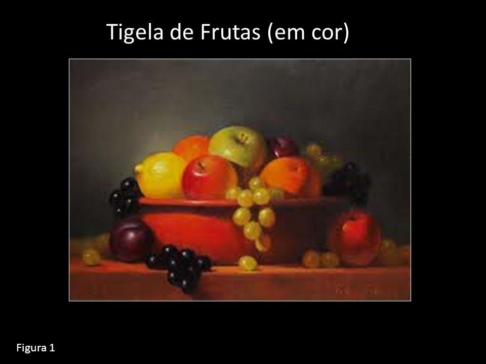 Duas fotos que foram tiradas da tigela de frutas Em filme preto e branco; Uma pelo filtro verde, outra pelo filtro amarilho.