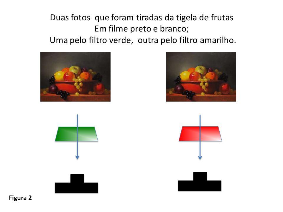 Duas fotos que foram tiradas da tigela de frutas Em filme preto e branco; Uma pelo filtro verde, outra pelo filtro amarilho. Figura 2