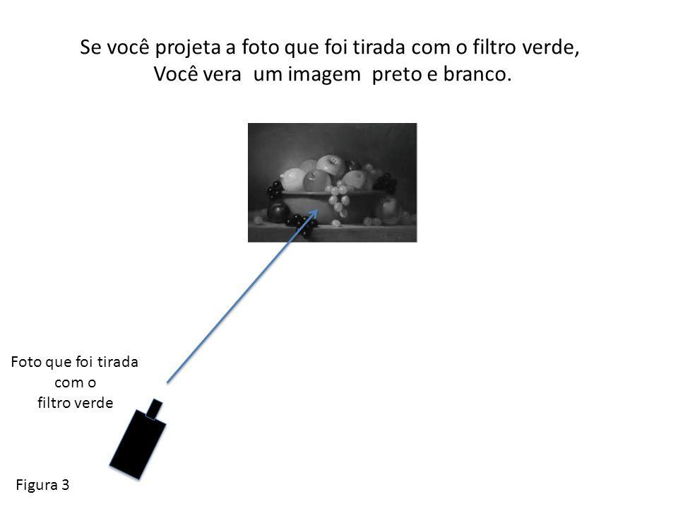 Se você projeta a foto que foi tirada com o filtro amarilho, Você vera um imagem preto e branco diferente.