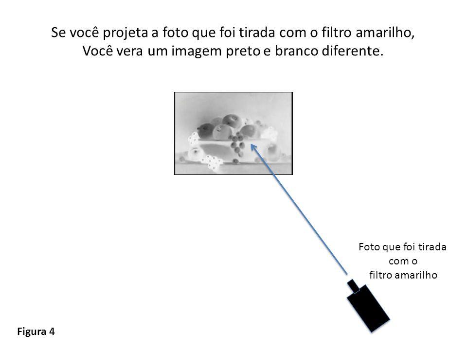 Se você projeta a foto que foi tirada com o filtro amarilho, Você vera um imagem preto e branco diferente. Figura 4 Foto que foi tirada com o filtro a