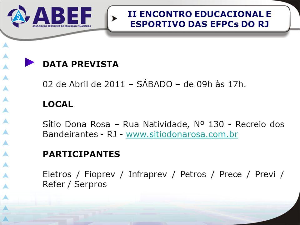 DATA PREVISTA 02 de Abril de 2011 – SÁBADO – de 09h às 17h. LOCAL Sítio Dona Rosa – Rua Natividade, Nº 130 - Recreio dos Bandeirantes - RJ - www.sitio