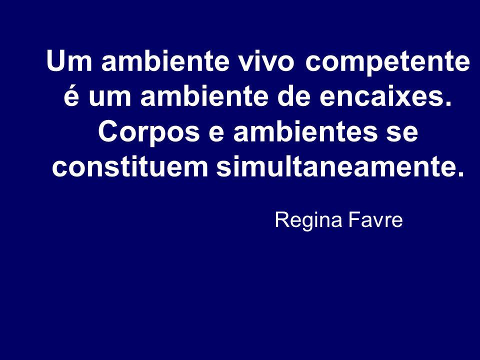 Um ambiente vivo competente é um ambiente de encaixes. Corpos e ambientes se constituem simultaneamente. Regina Favre