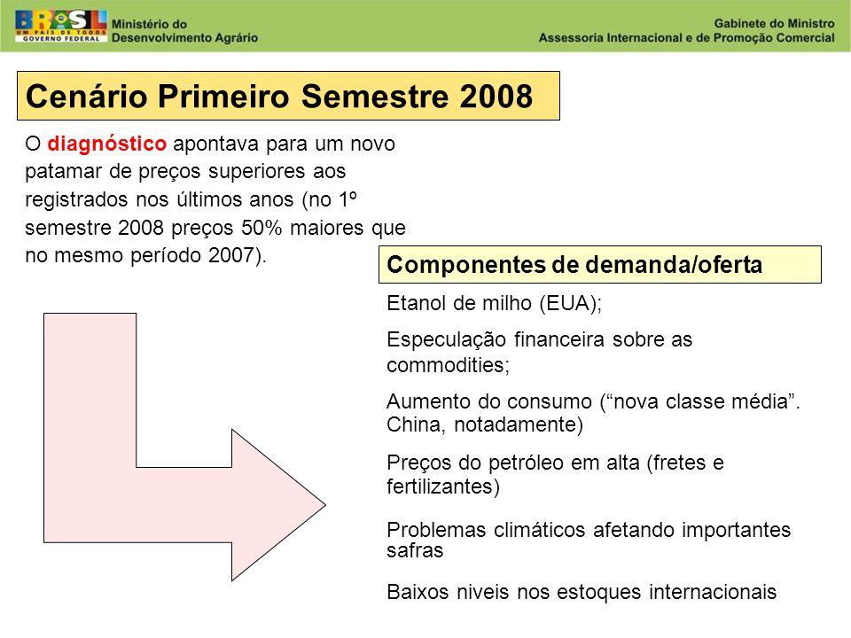 Desenvolvimento Agrário Ministério do Desenvolvimento Agrário Cenário Primeiro Semestre 2008 Componentes de demanda/oferta Etanol de milho (EUA); Especulação financeira sobre as commodities; Aumento do consumo (nova classe média.