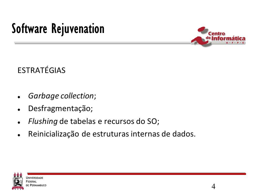 4 Software Rejuvenation ESTRATÉGIAS Garbage collection; Desfragmentação; Flushing de tabelas e recursos do SO; Reinicialização de estruturas internas