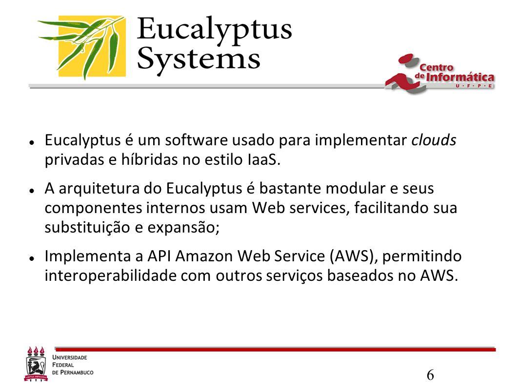 6 Eucalyptus é um software usado para implementar clouds privadas e híbridas no estilo IaaS. A arquitetura do Eucalyptus é bastante modular e seus com