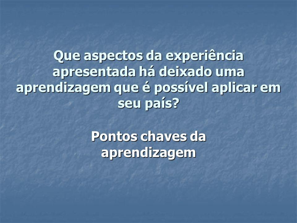 Que aspectos da experiência apresentada há deixado uma aprendizagem que é possível aplicar em seu país.