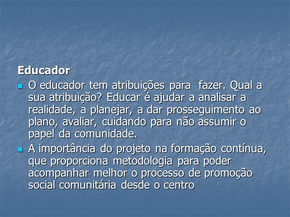 Educador O educador tem atribuições para fazer.Qual a sua atribuição.