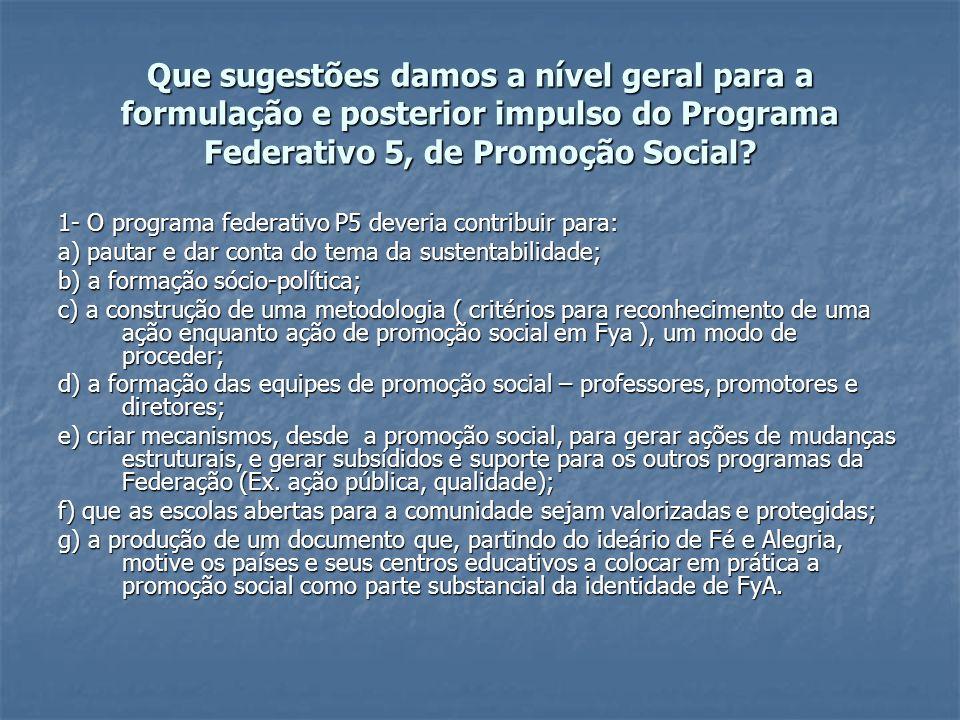 Que sugestões damos a nível geral para a formulação e posterior impulso do Programa Federativo 5, de Promoção Social.