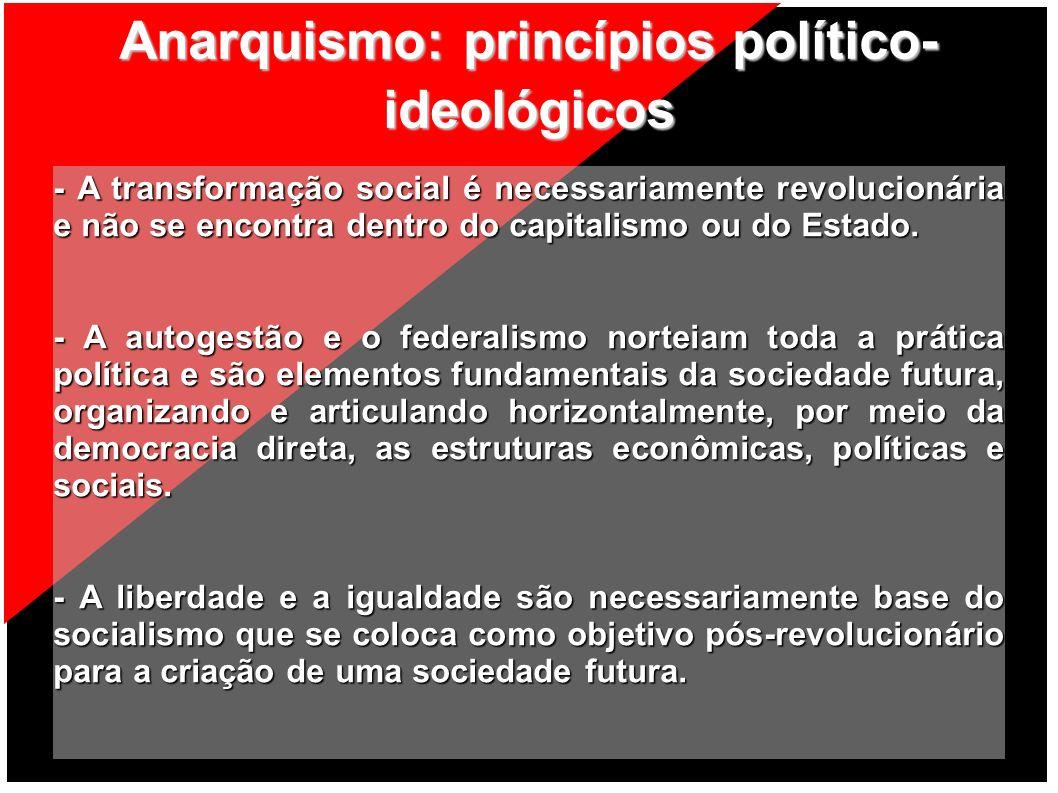 Anarquismo: princípios político- ideológicos - A transformação social é necessariamente revolucionária e não se encontra dentro do capitalismo ou do E