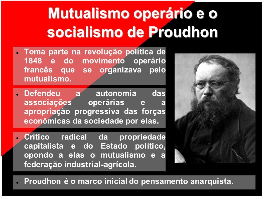 Mutualismo operário e o socialismo de Proudhon Toma parte na revolução política de 1848 e do movimento operário francês que se organizava pelo mutuali