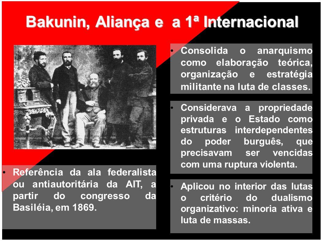 Bakunin, Aliança e a 1ª Internacional Consolida o anarquismo como elaboração teórica, organização e estratégia militante na luta de classes. Considera