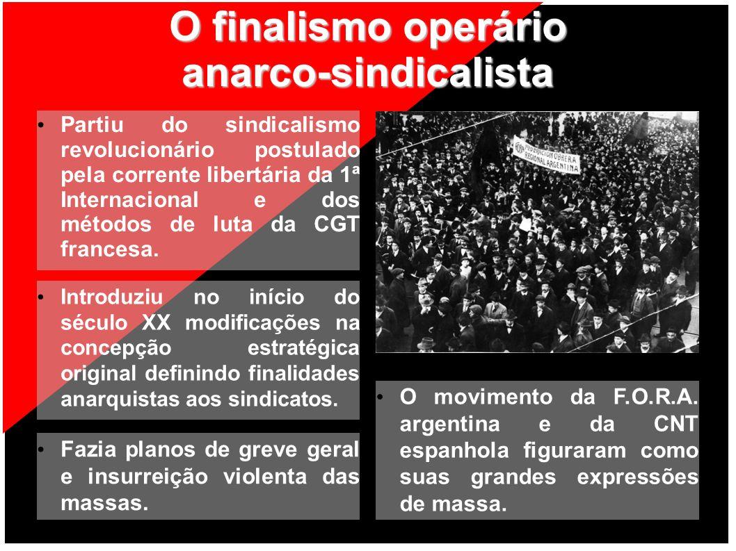 O finalismo operário anarco-sindicalista Partiu do sindicalismo revolucionário postulado pela corrente libertária da 1ª Internacional e dos métodos de