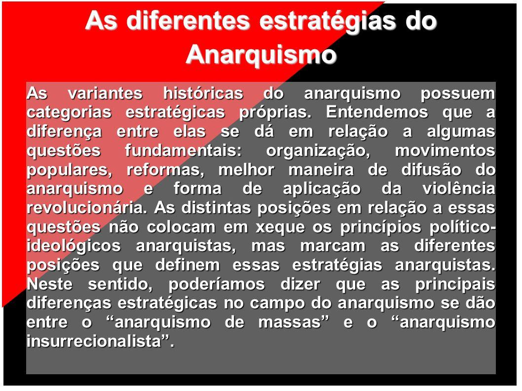 As diferentes estratégias do Anarquismo As variantes históricas do anarquismo possuem categorias estratégicas próprias. Entendemos que a diferença ent