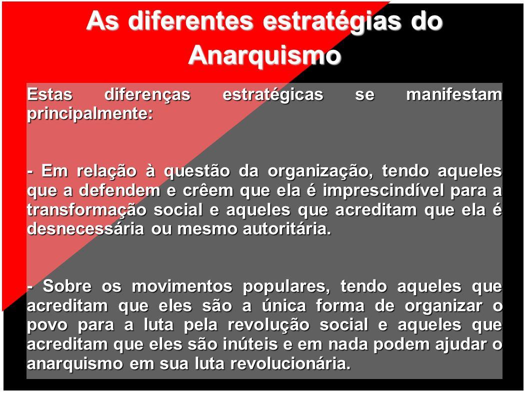 As diferentes estratégias do Anarquismo Estas diferenças estratégicas se manifestam principalmente: - Em relação à questão da organização, tendo aquel