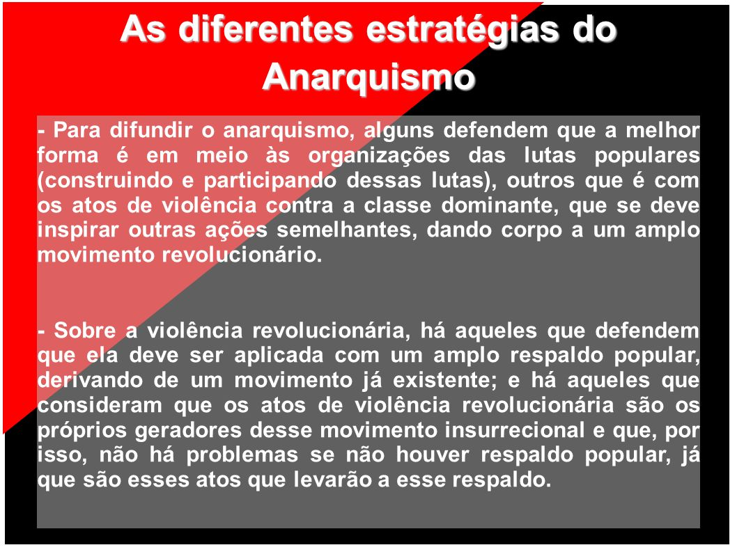 As diferentes estratégias do Anarquismo - Para difundir o anarquismo, alguns defendem que a melhor forma é em meio às organizações das lutas populares