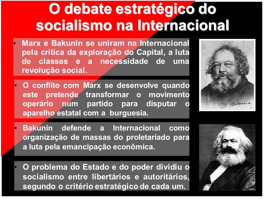 O debate estratégico do socialismo na Internacional Marx e Bakunin se uniram na Internacional pela crítica da exploração do Capital, a luta de classes