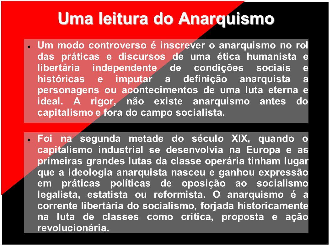 Nossa definição do Anarquismo Consideramos o anarquismo como uma ideologia, um tipo de socialismo revolucionário, que surge no século XIX colocando-se no campo social.