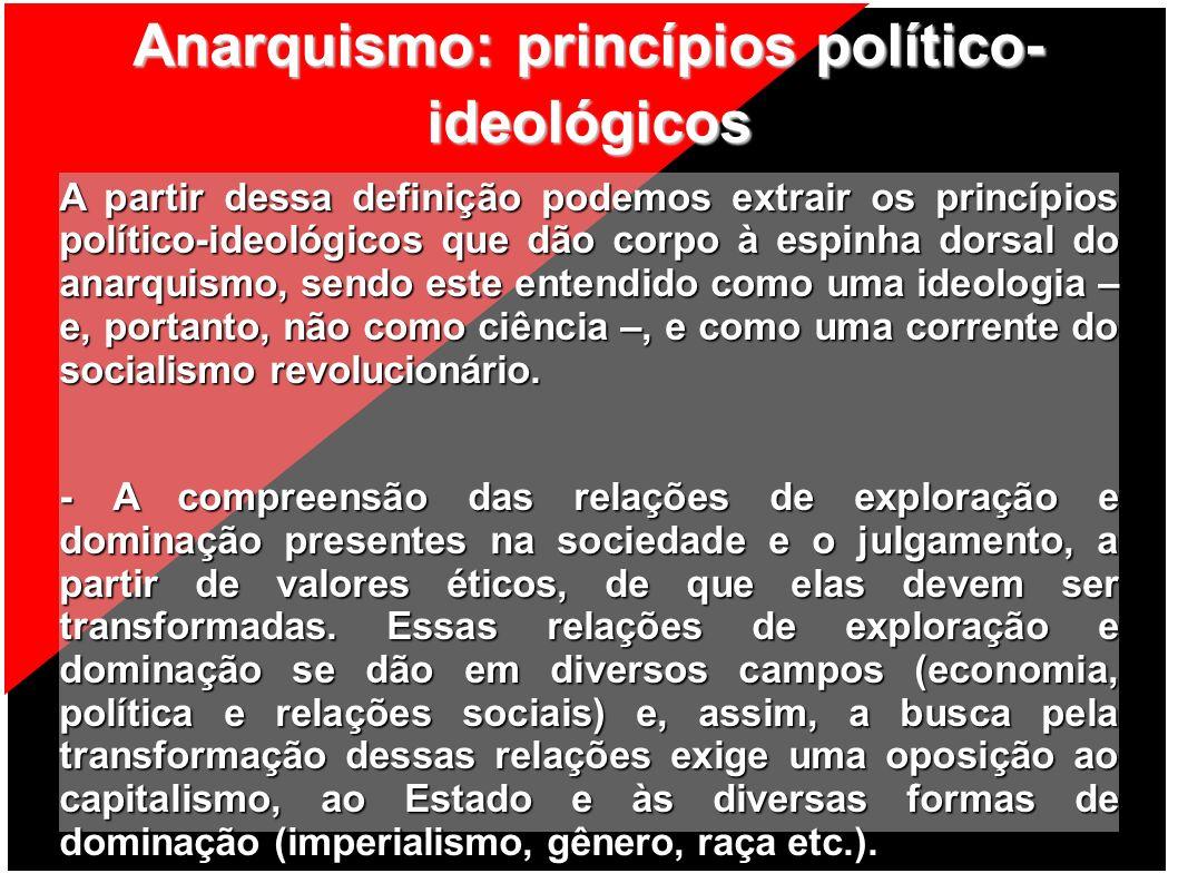 Anarquismo: princípios político- ideológicos A partir dessa definição podemos extrair os princípios político-ideológicos que dão corpo à espinha dorsa