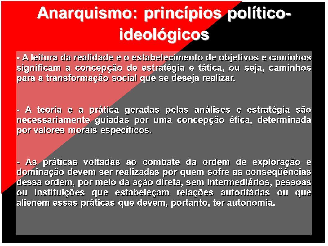 Anarquismo: princípios político- ideológicos - A leitura da realidade e o estabelecimento de objetivos e caminhos significam a concepção de estratégia